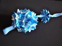 Zimní papírová kytička Kusudama